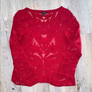 Express Red Lace Top
